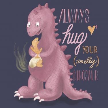 Smelly hugging dinosaur