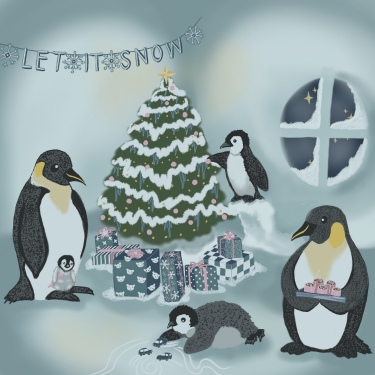 Let it Snow Penguin Holiday