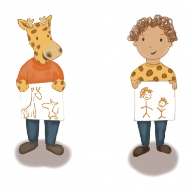 Giraffe and Child character studies
