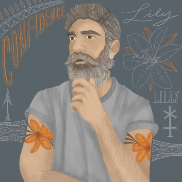 Man with orange Lilly tattoo